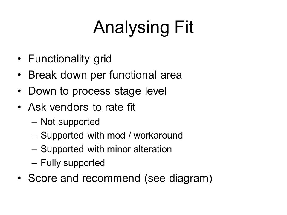 Analysing Fit Functionality grid Break down per functional area