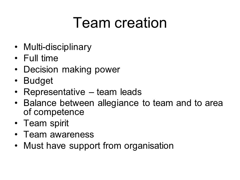 Team creation Multi-disciplinary Full time Decision making power