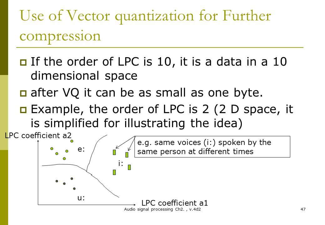 Use of Vector quantization for Further compression