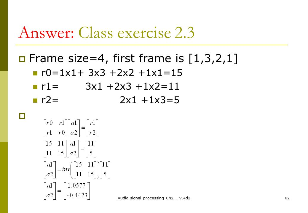 Answer: Class exercise 2.3