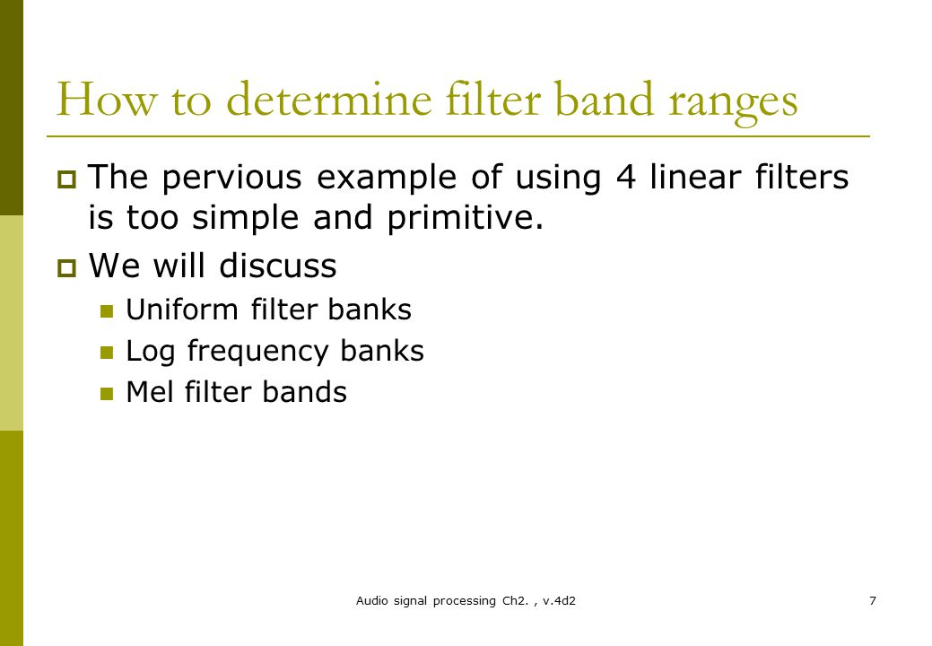 How to determine filter band ranges