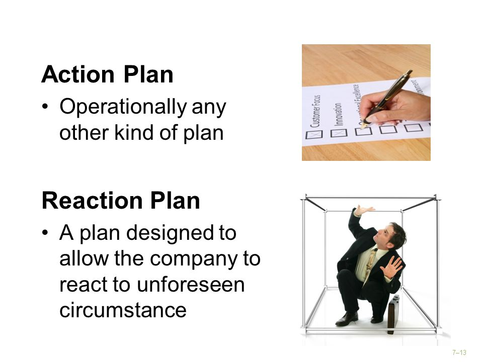 Action Plan Reaction Plan Operationally any other kind of plan