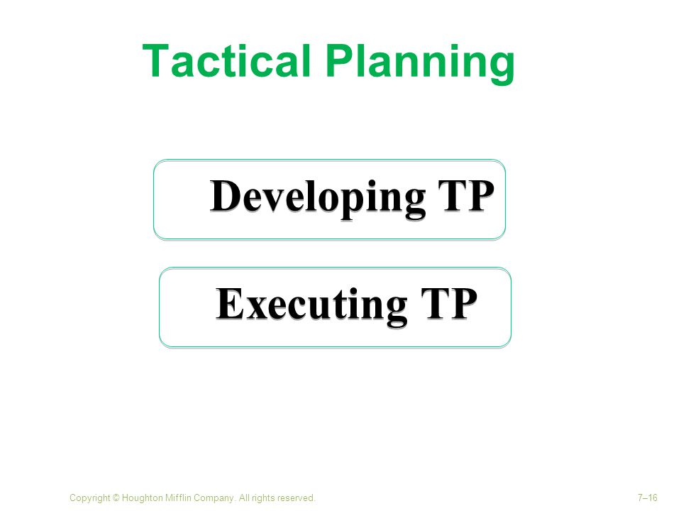 Tactical Planning Developing TP Executing TP