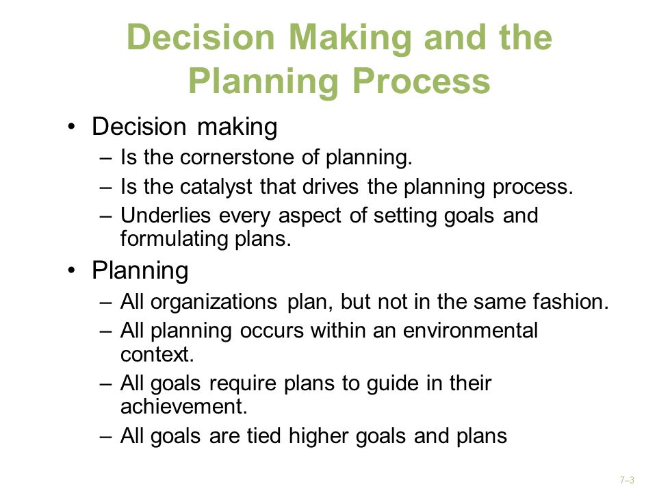 Decision Making and the Planning Process