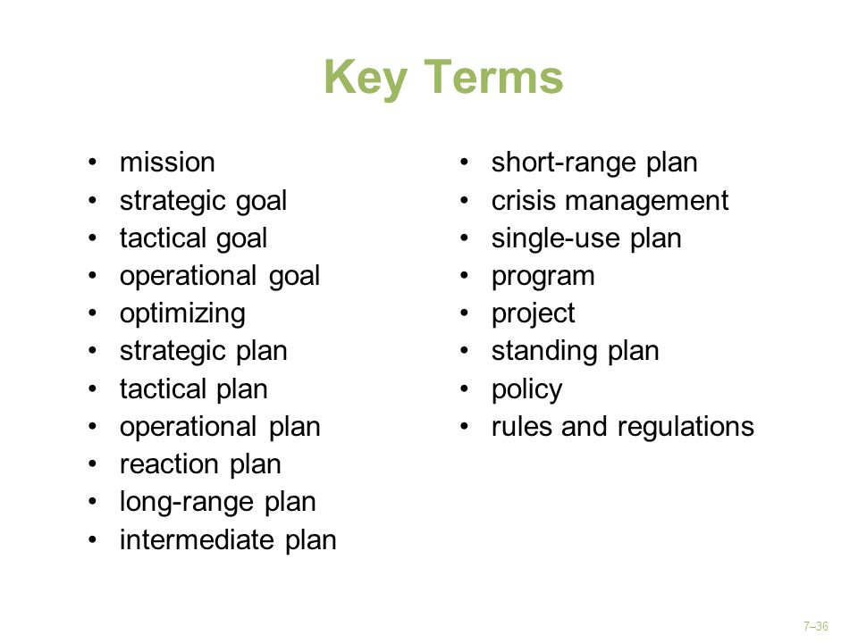 Key Terms mission strategic goal tactical goal operational goal