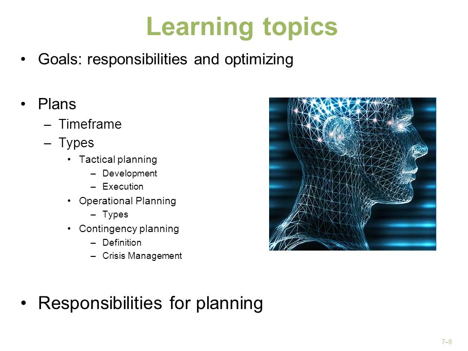 Learning topics Responsibilities for planning