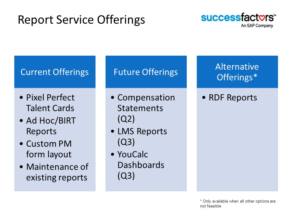 Report Service Offerings