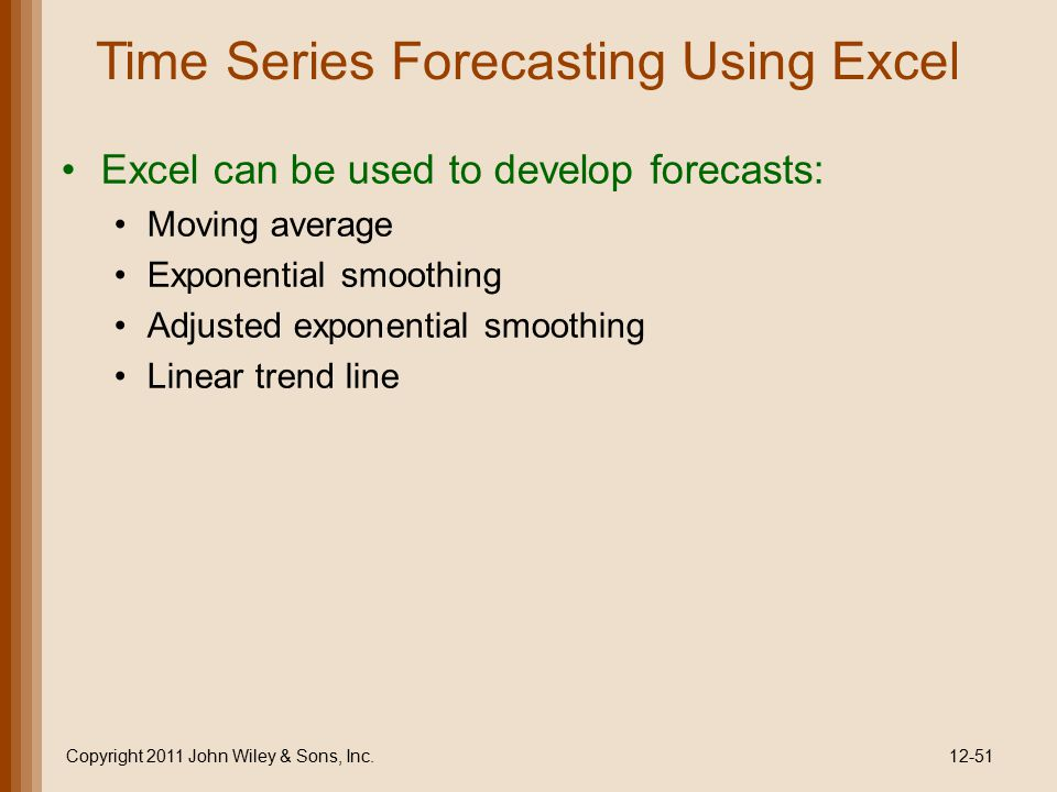 Time Series Forecasting Using Excel