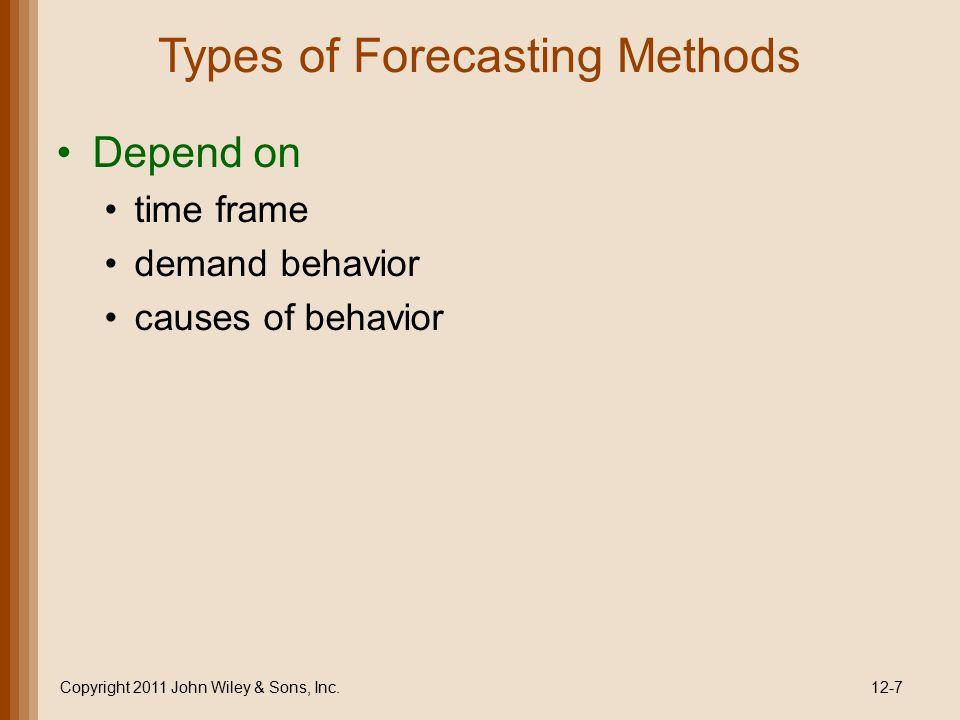 Types of Forecasting Methods