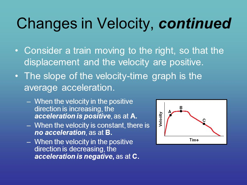 Changes in Velocity, continued