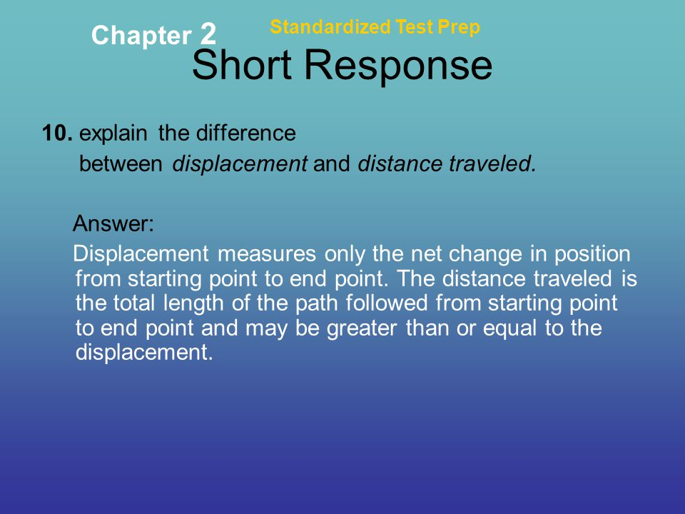 Short Response Chapter explain the difference