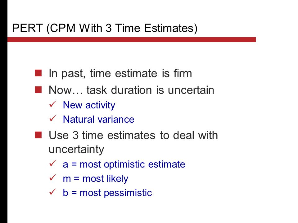 PERT (CPM With 3 Time Estimates)