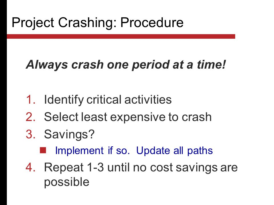 Project Crashing: Procedure
