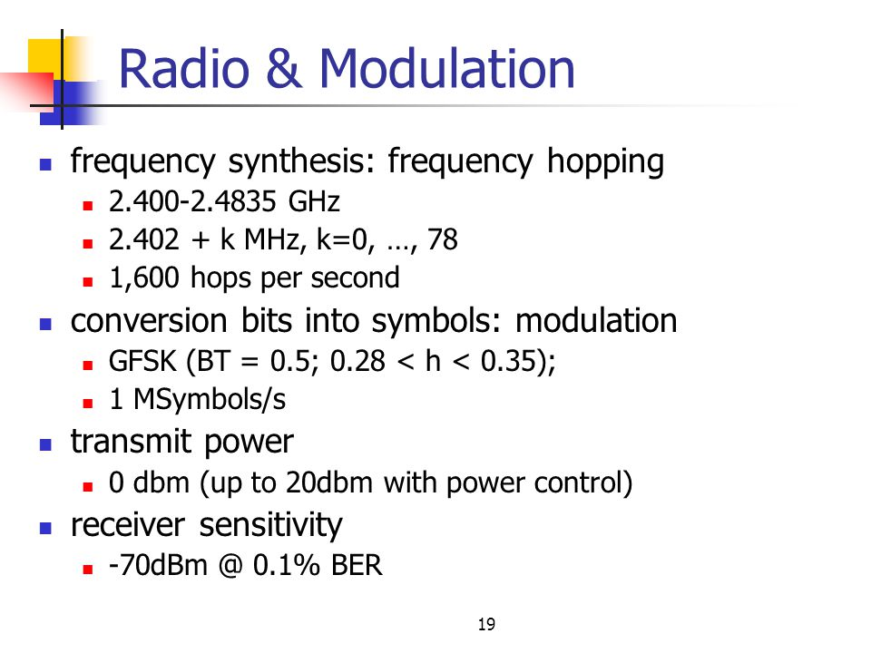 Radio & Modulation frequency synthesis: frequency hopping
