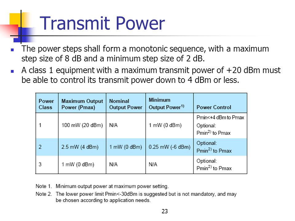 Transmit Power The power steps shall form a monotonic sequence, with a maximum step size of 8 dB and a minimum step size of 2 dB.