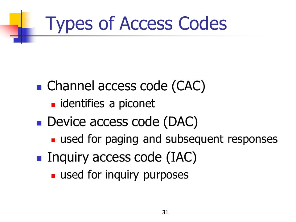 Types of Access Codes Channel access code (CAC)
