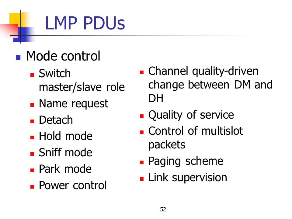 LMP PDUs Mode control Channel quality-driven change between DM and DH