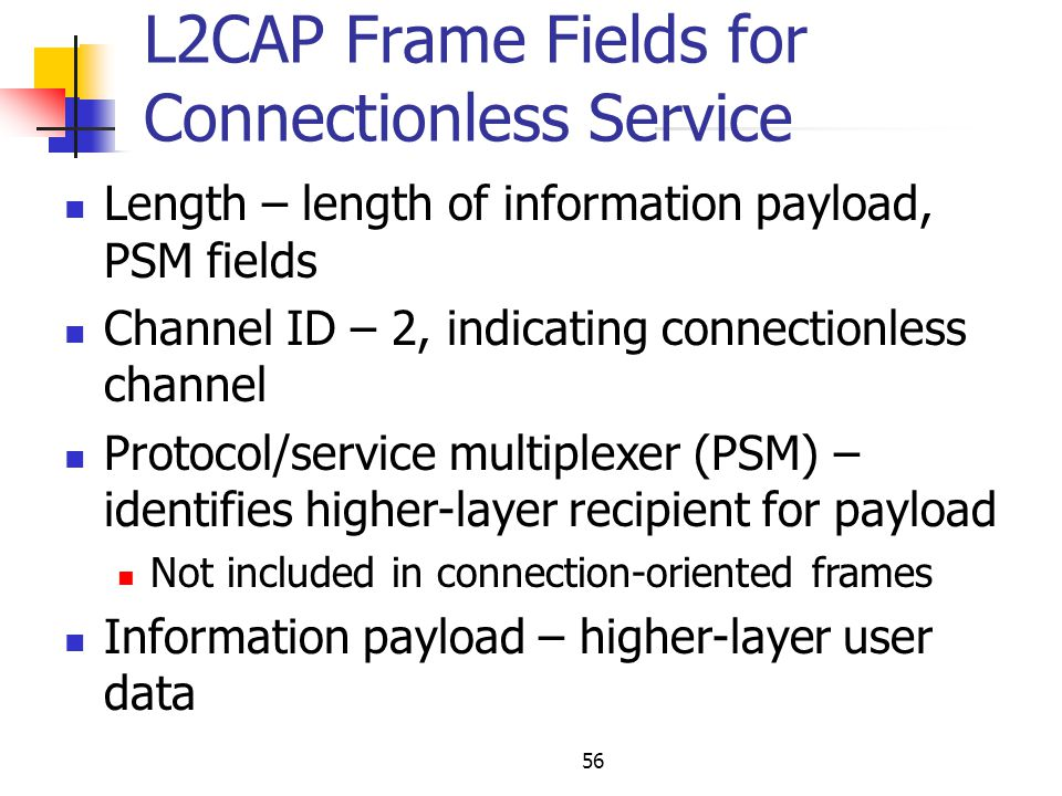 L2CAP Frame Fields for Connectionless Service