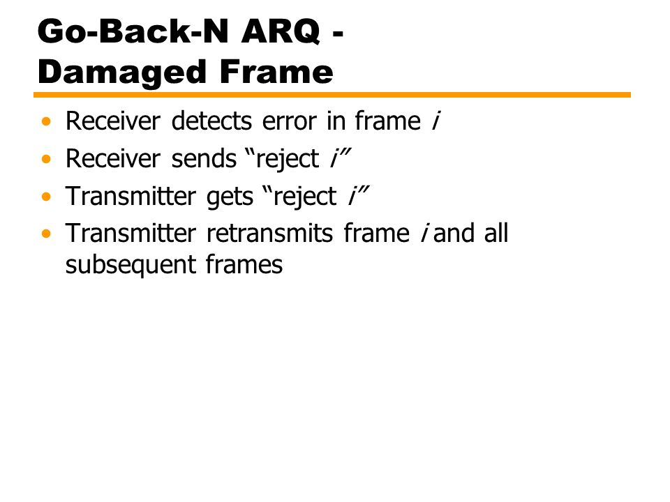 Go-Back-N ARQ - Damaged Frame