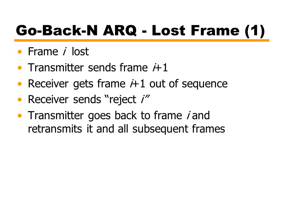 Go-Back-N ARQ - Lost Frame (1)