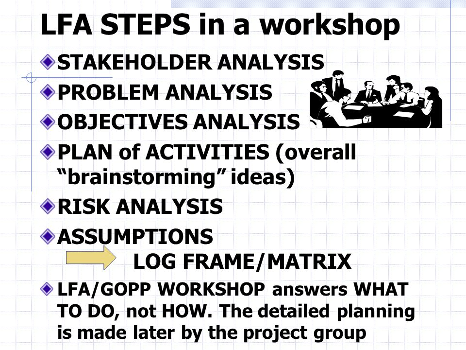 LFA STEPS in a workshop STAKEHOLDER ANALYSIS PROBLEM ANALYSIS