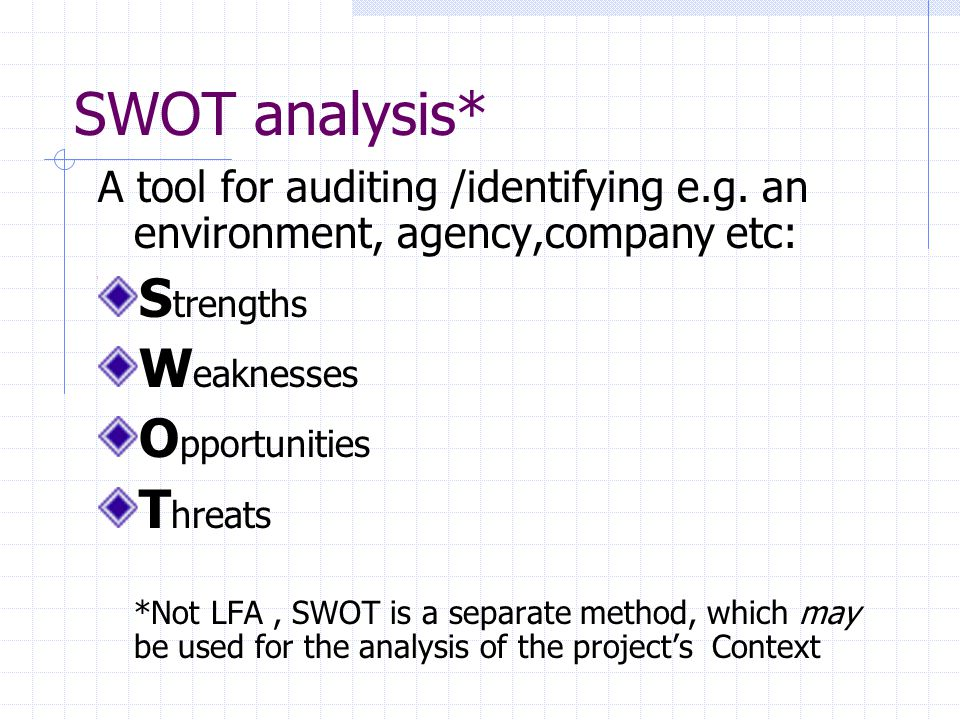 SWOT analysis* Strengths Weaknesses Opportunities Threats