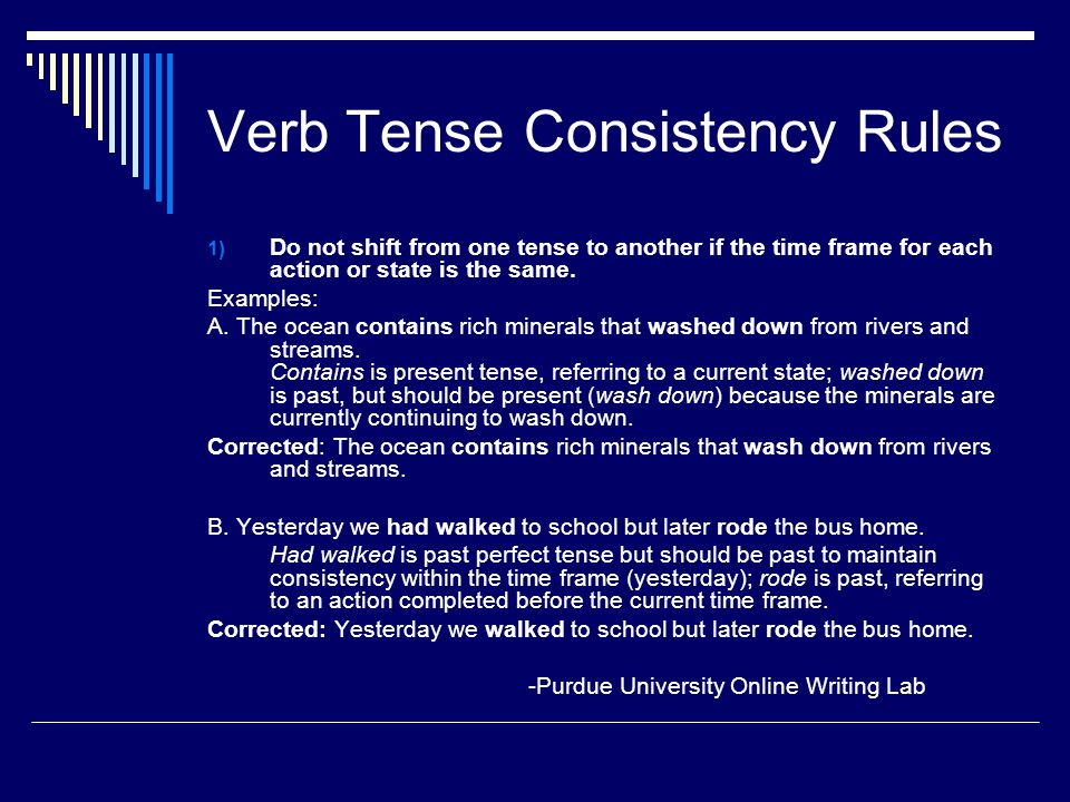 Verb tense consistency in essays