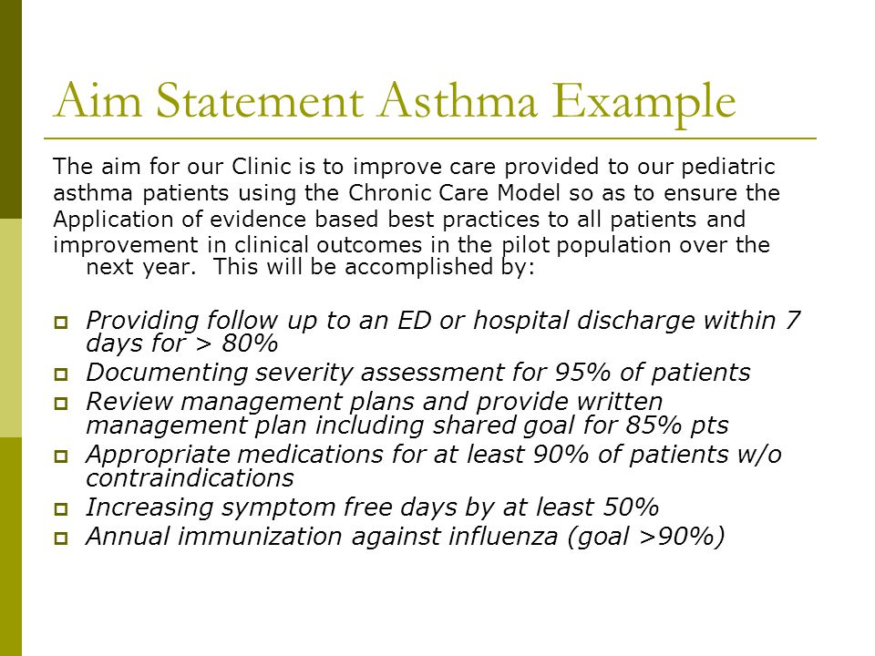 Aim Statement Asthma Example