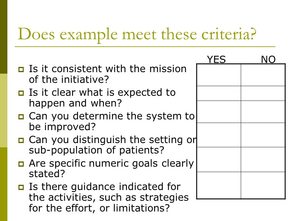 Does example meet these criteria