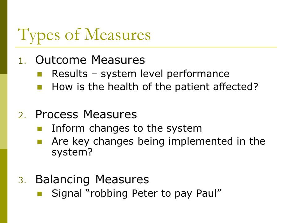 Types of Measures Outcome Measures Process Measures Balancing Measures