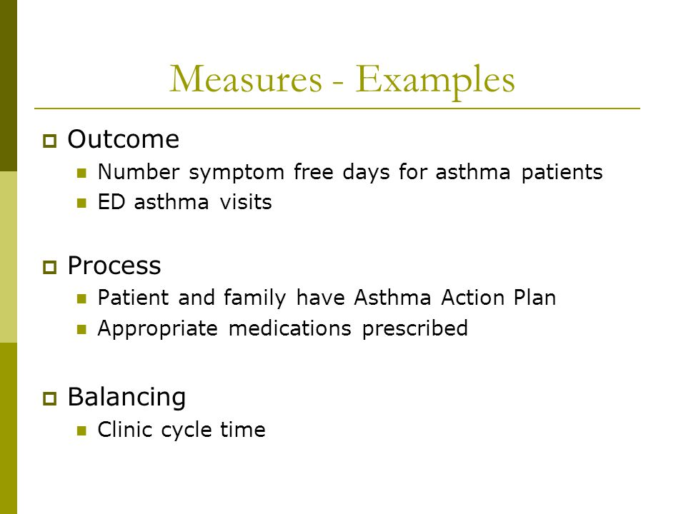 Measures - Examples Outcome Process Balancing
