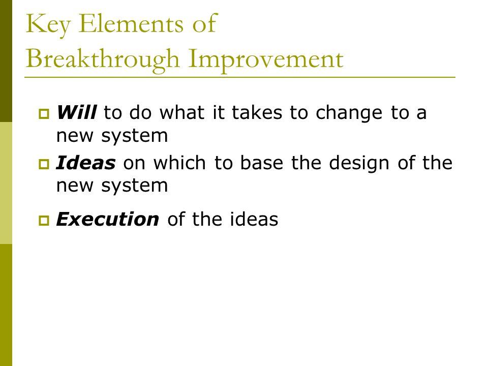 Key Elements of Breakthrough Improvement