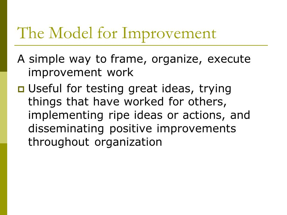 The Model for Improvement