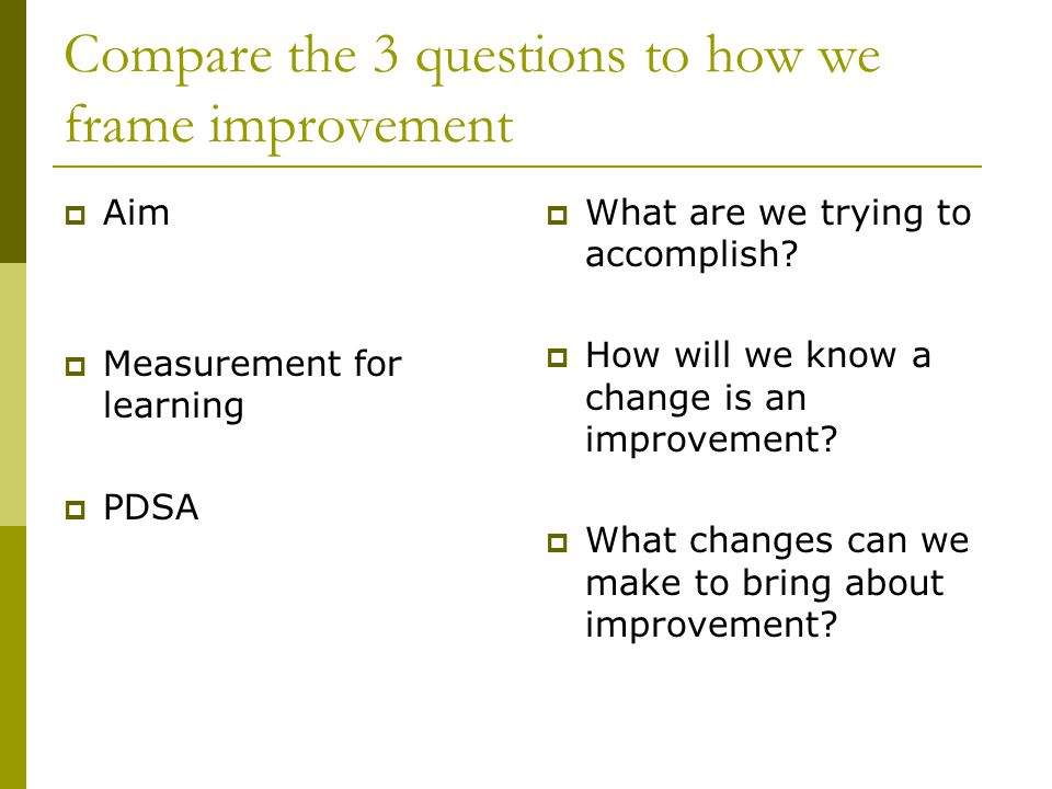 Compare the 3 questions to how we frame improvement