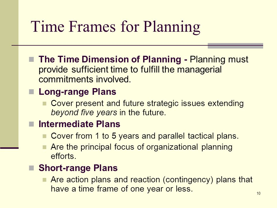 Time Frames for Planning