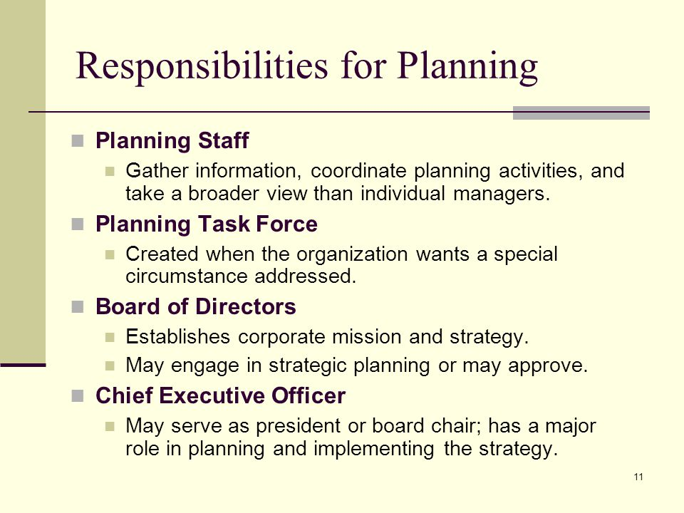 Responsibilities for Planning