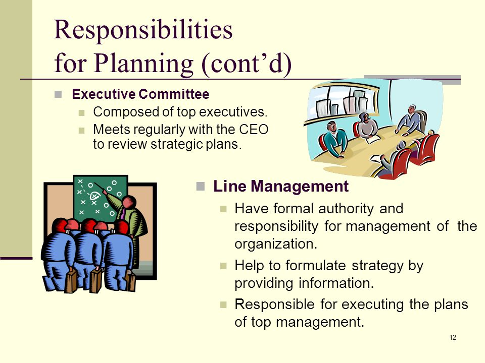Responsibilities for Planning (cont'd)