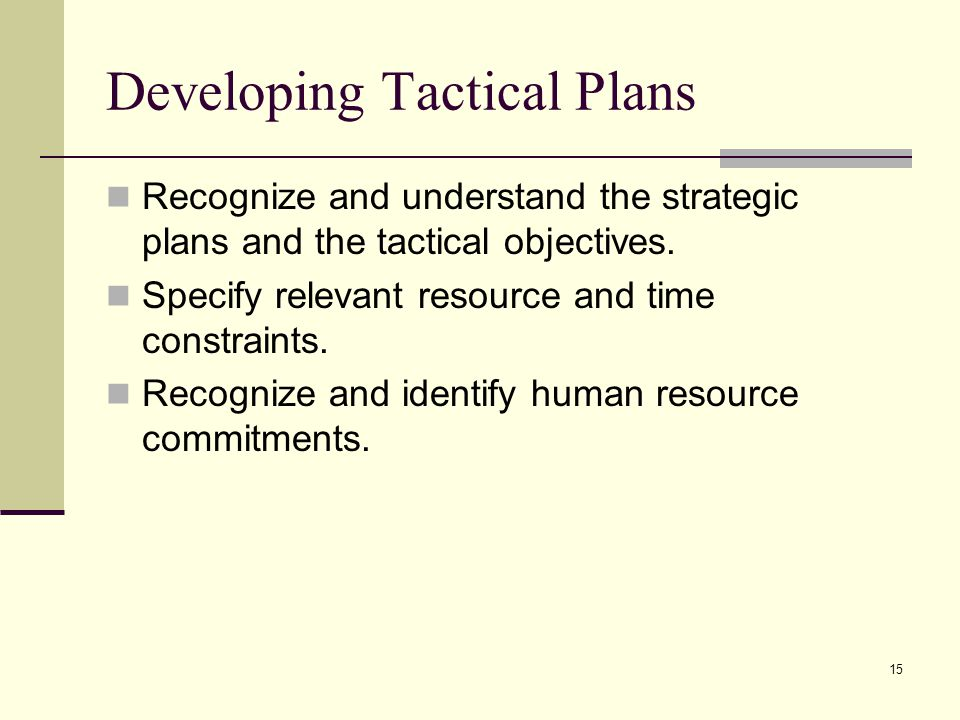 Developing Tactical Plans