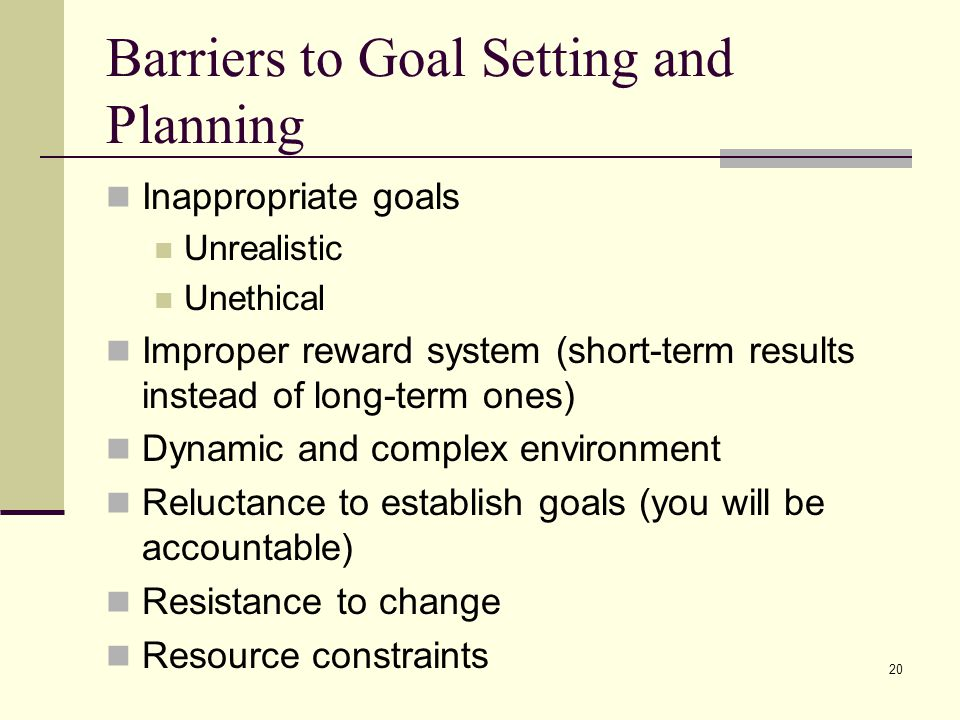 Barriers to Goal Setting and Planning