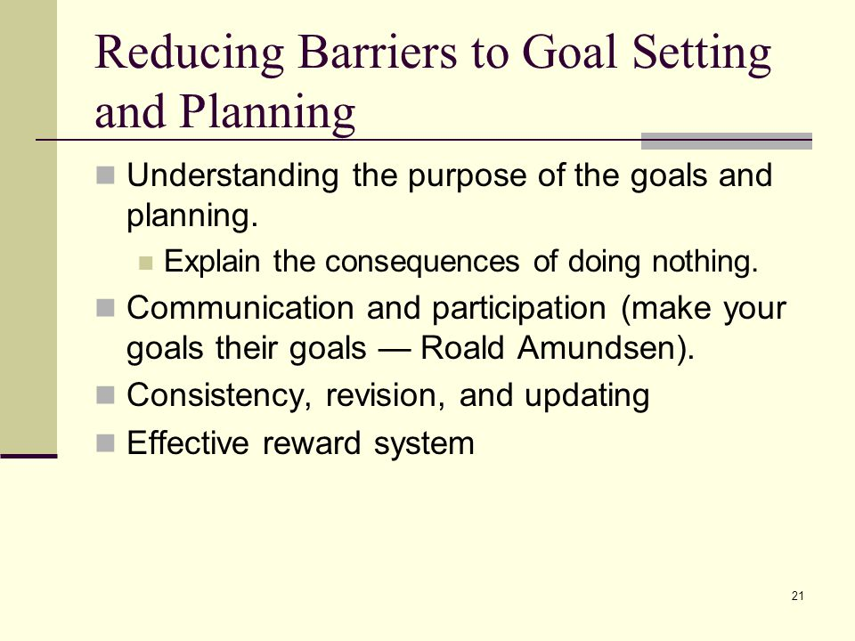Reducing Barriers to Goal Setting and Planning