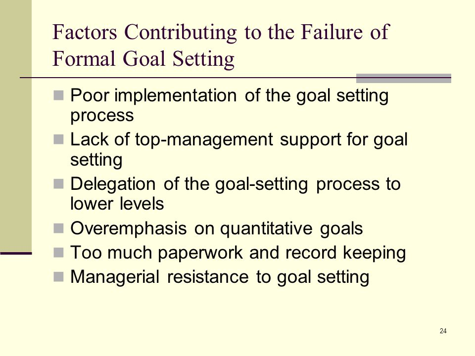 Factors Contributing to the Failure of Formal Goal Setting