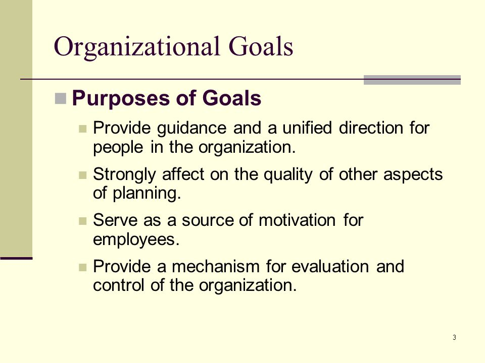 Organizational Goals Purposes of Goals