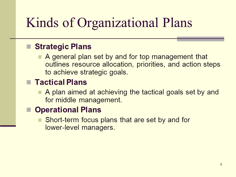 Kinds of Organizational Plans