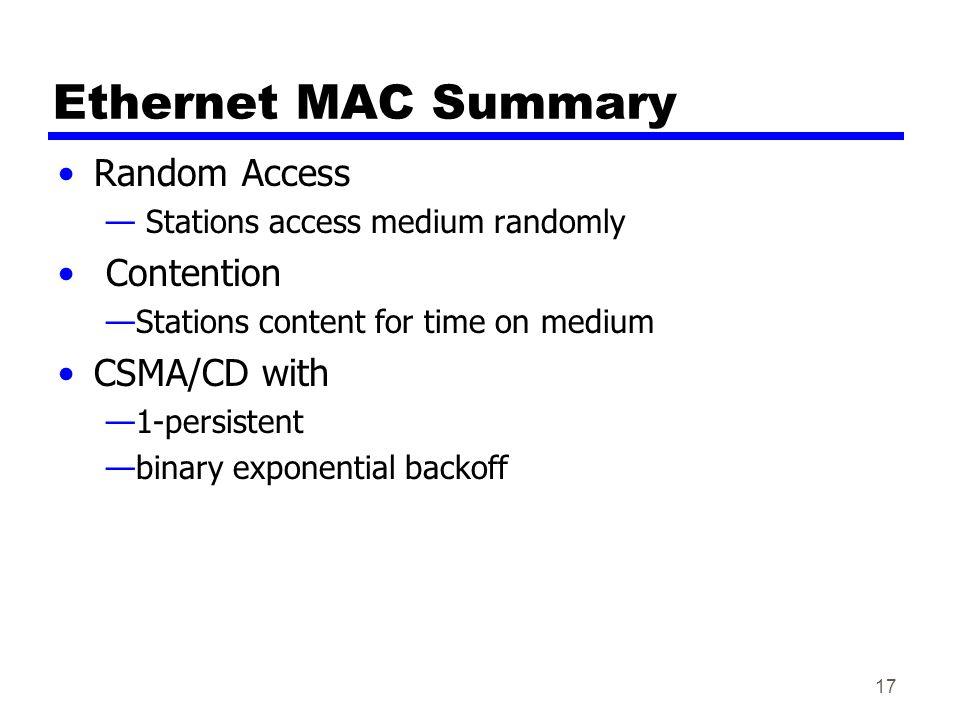 Ethernet MAC Summary Random Access Contention CSMA/CD with