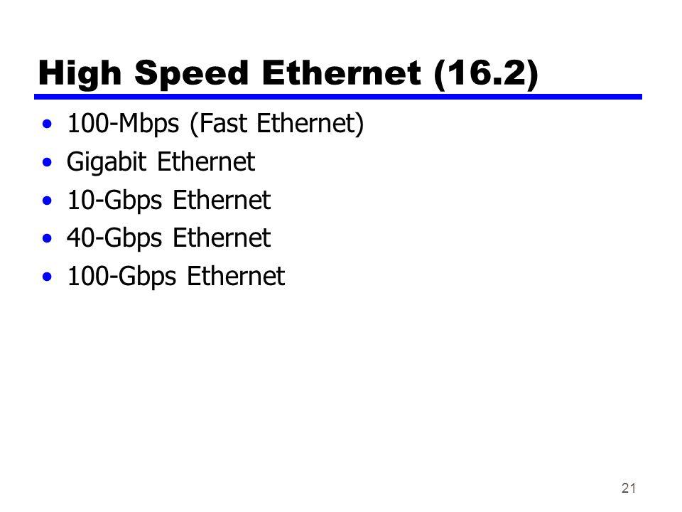 High Speed Ethernet (16.2) 100-Mbps (Fast Ethernet) Gigabit Ethernet