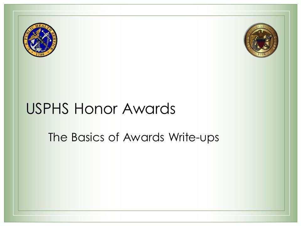 The Basics of Awards Write-ups