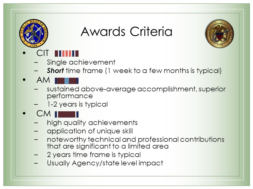 Awards Criteria CIT AM CM Single achievement