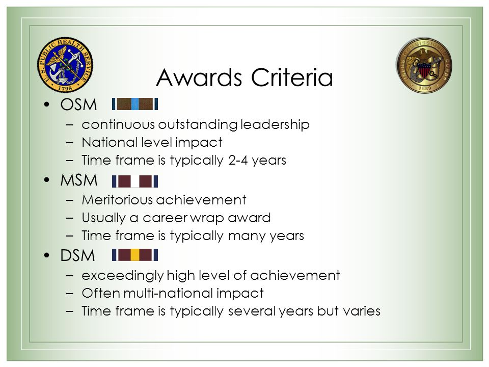Awards Criteria OSM MSM DSM continuous outstanding leadership