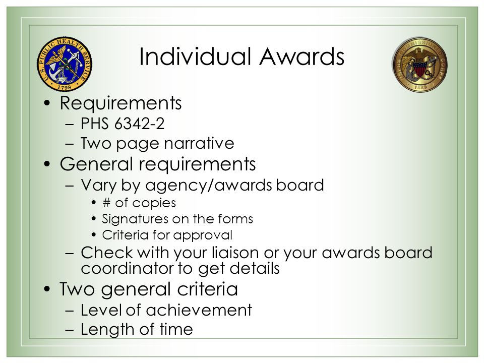 Individual Awards Requirements General requirements