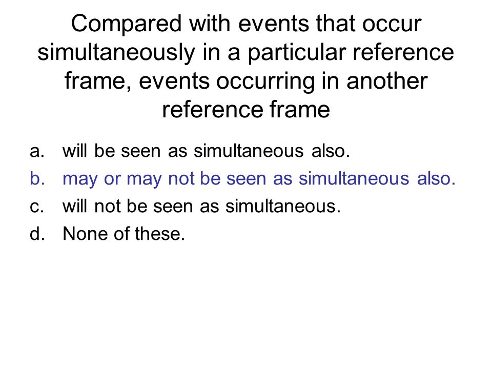 Compared with events that occur simultaneously in a particular reference frame, events occurring in another reference frame
